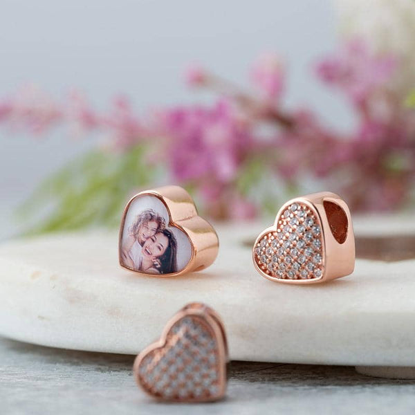 Rose Crystal Photo Charm | Rose Gold Photo Charm - Annalise Jewellery