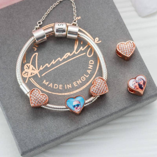 Rose Crystal Photo Charm - Rose Gold Photo Charm - Annalise Jewellery