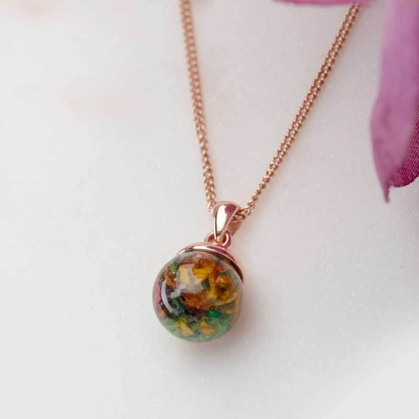 Dried Flowers Rose Gold Pendant | Dried Flower Jewellery - Annalise Jewellery