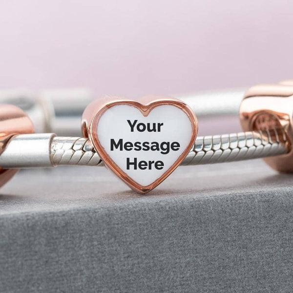 Rose Message Crystal Charm | Rose Gold Photo Charm - Annalise Jewellery