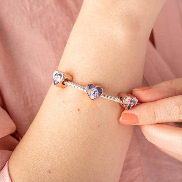 Rose Double Photo Charm - Rose Gold Photo Charm By Annalise Jewellery