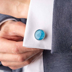 Ashes Memorial Cufflinks (Round) - Ashes Cufflinks - Annalise Jewellery