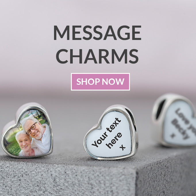 Personalised pandora mesage charms