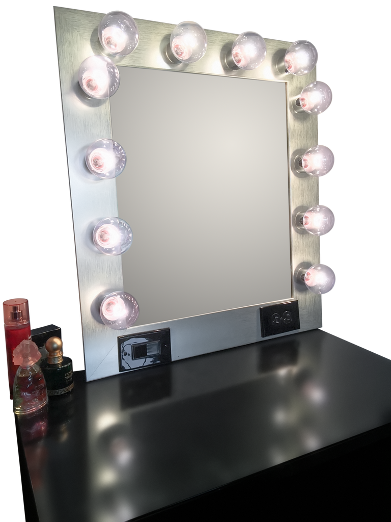 The Hollywood Vanity Mirror- Brushed Silver