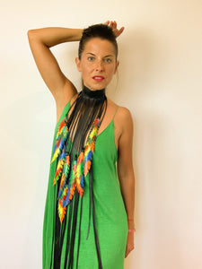 fringe necklace choker bold necklace recycled inner tube necklace by Laura Zabo