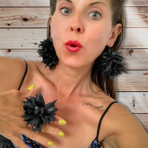 Recycled statement earrings inner tube jewellery by Laura Zabo