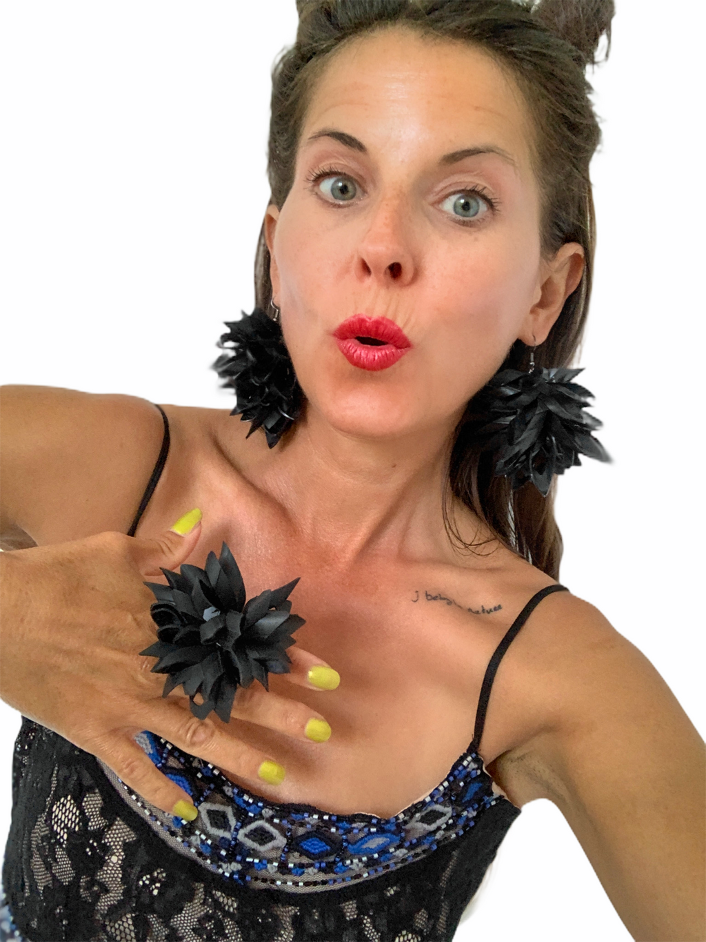 recycled statement jewellery bold earrings inner tube