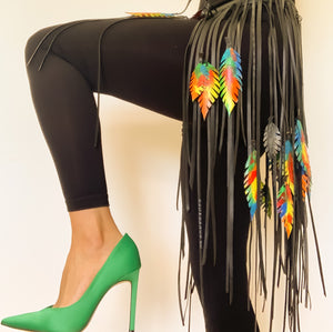 Vogue Fringe belt with stunning multicoloured and removable leaves
