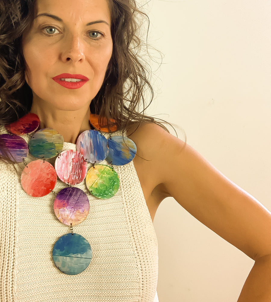 rainbow coloured jewellery set made from recycled up cycled bicycled inner tube, tyre rubber