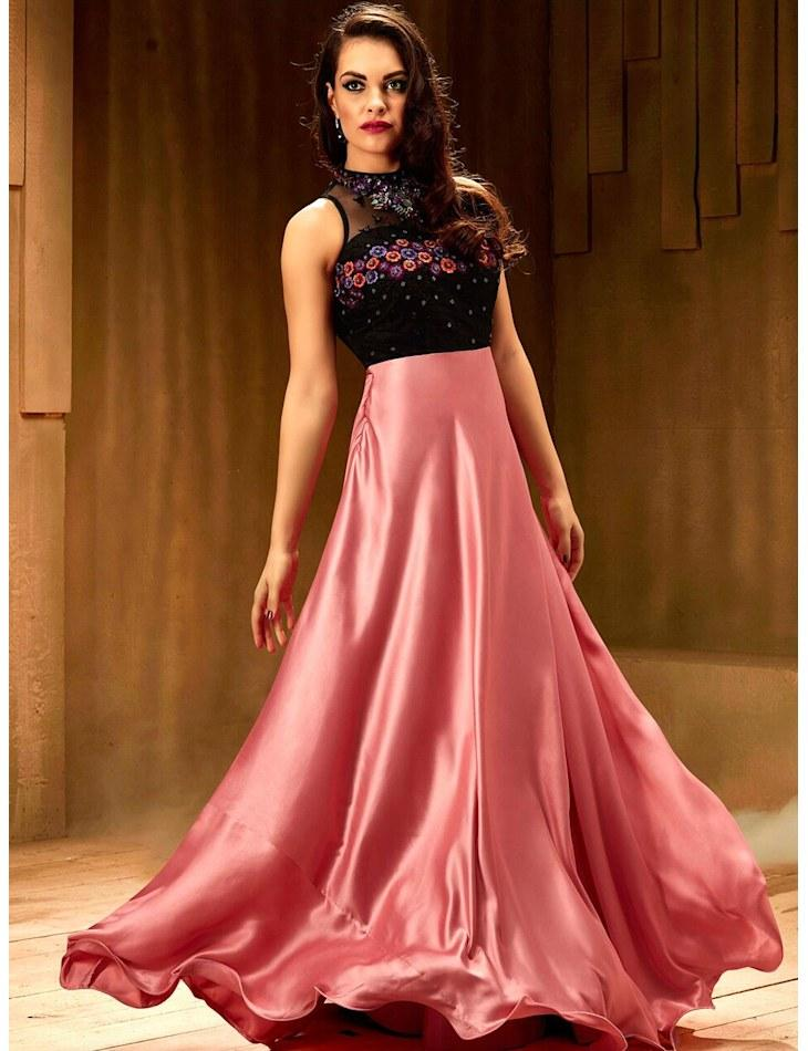 ce3a6fb269 Pink Satin Stitched Embroidered Designer Partywear Gown – Sutva