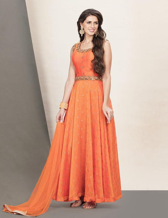 Orange georgette fit & flare party gown