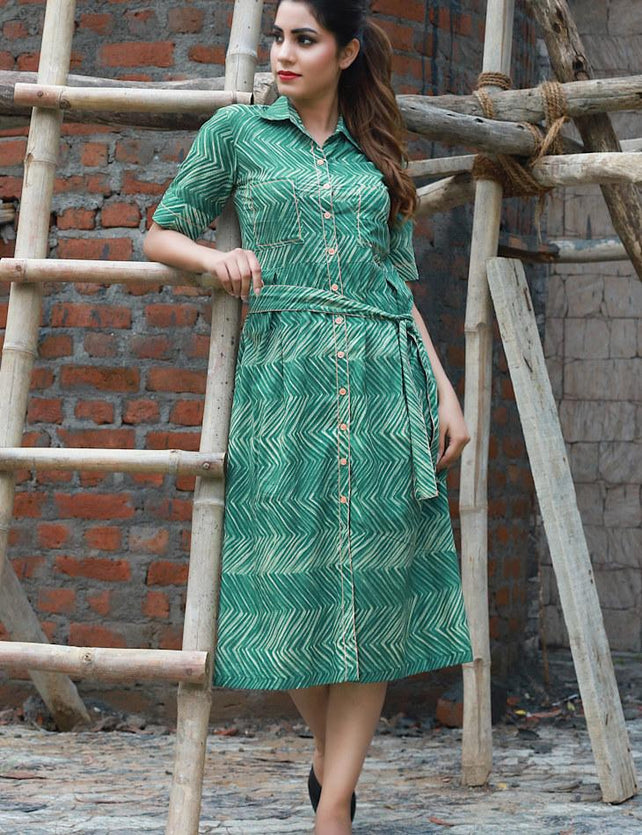 Green printed belted dress