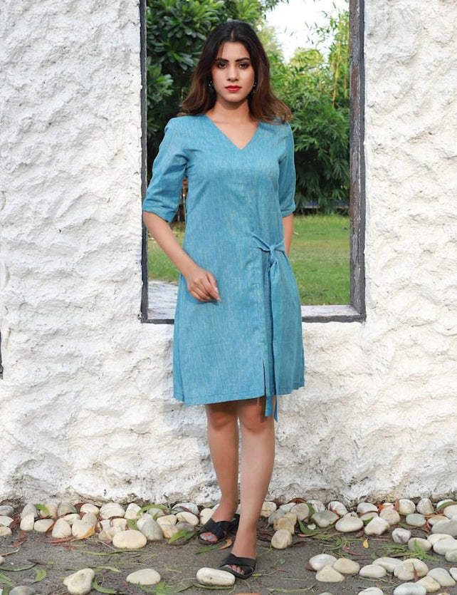 Textured blue knotted dress