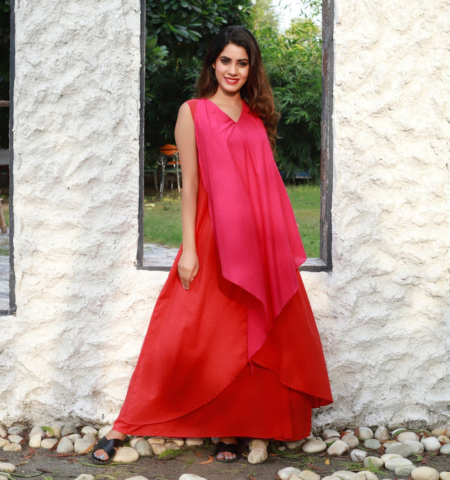 Red pink colorblock long gown