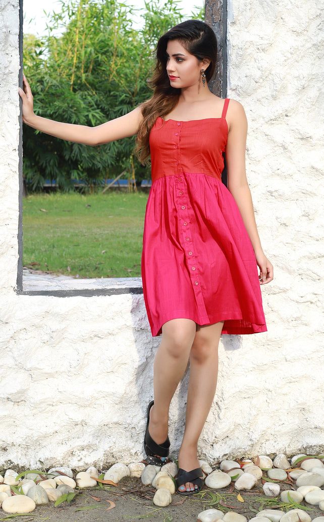 Red pink colorblock short dress