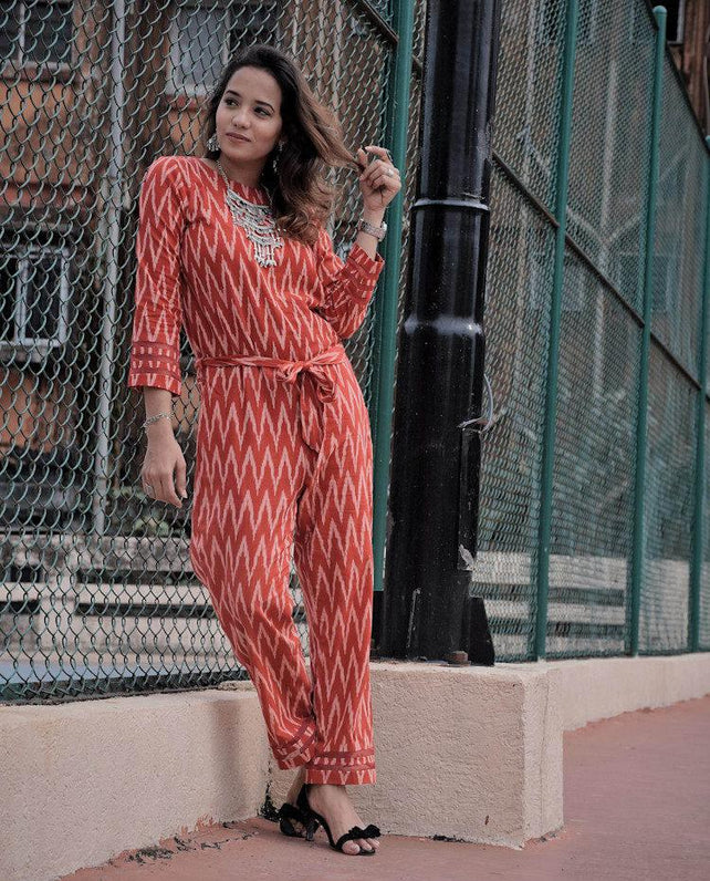 Red Panels Organza Jumpsuit