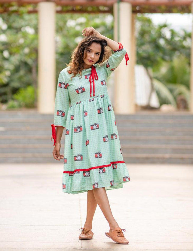 Camera print light green tassle dress