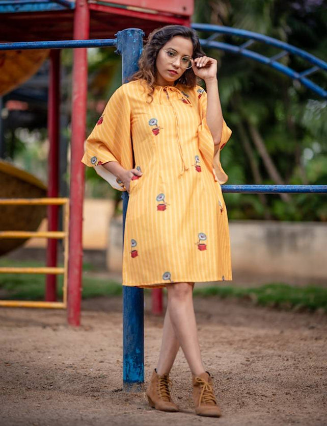 Gramophone print yellow stripe dress