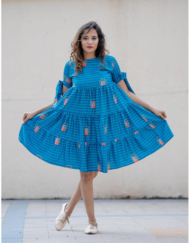 Walkman print layered blue dress