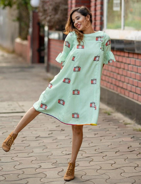 Camera print dress with bell sleeves