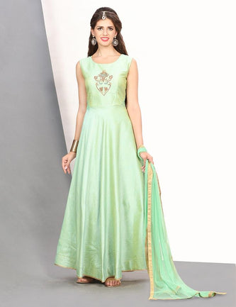 Green fit & flare silk gown