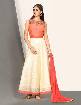 Orange fit & flare cotton silk gown
