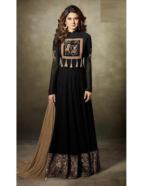 Georgette & Velvet Embroidered Black Semi-Stitched Gown