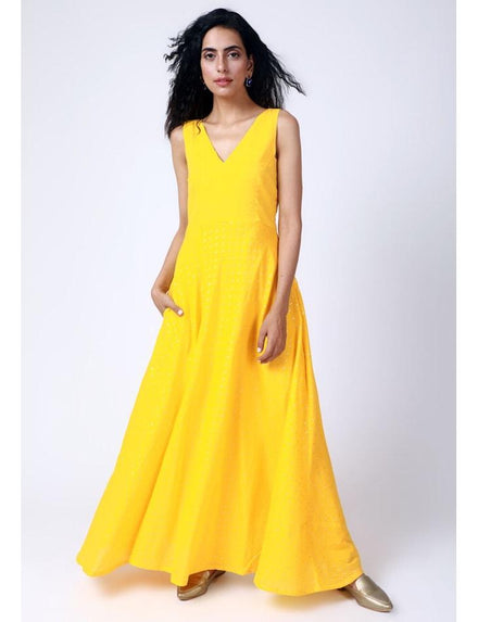 Yellow Silver Zari Dress