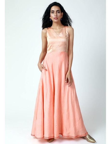 Peach Thread Bordered Dress