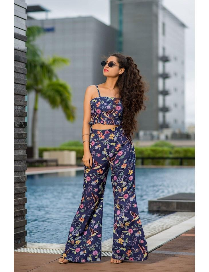 FLORAL AFFAIR CROP TOP AND PANTS