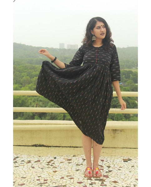 Black ikat long frock