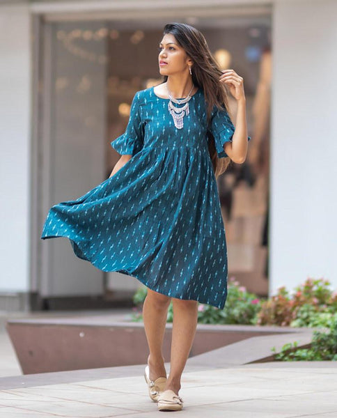 Gathered Yoke Blue Dress