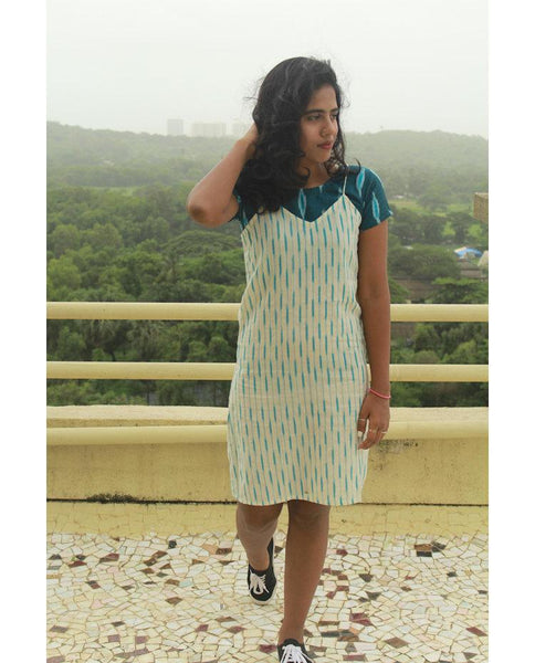 Blue ikat dress set