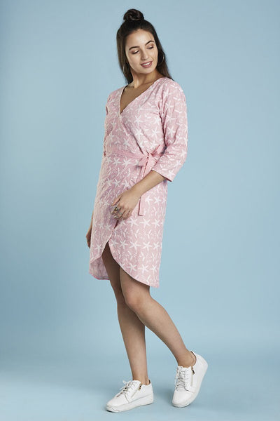 Baby pink embroidered overlap dress