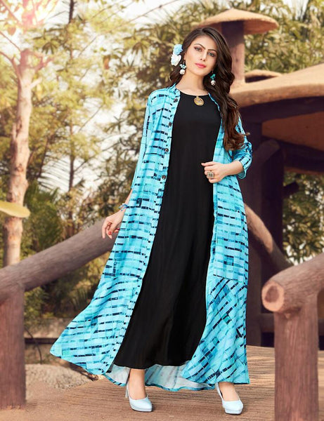 Designer Black and Sky Rayon Dress