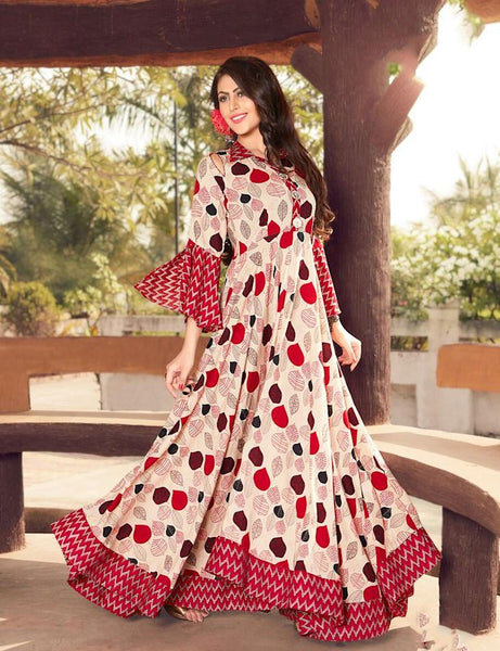 Designer Cream and Red Angel Sleeves Printed Rayon  Dress