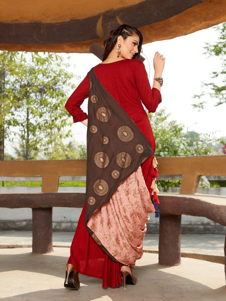 Designer Red Rayon Dress With Block Print Stylish Dupatta