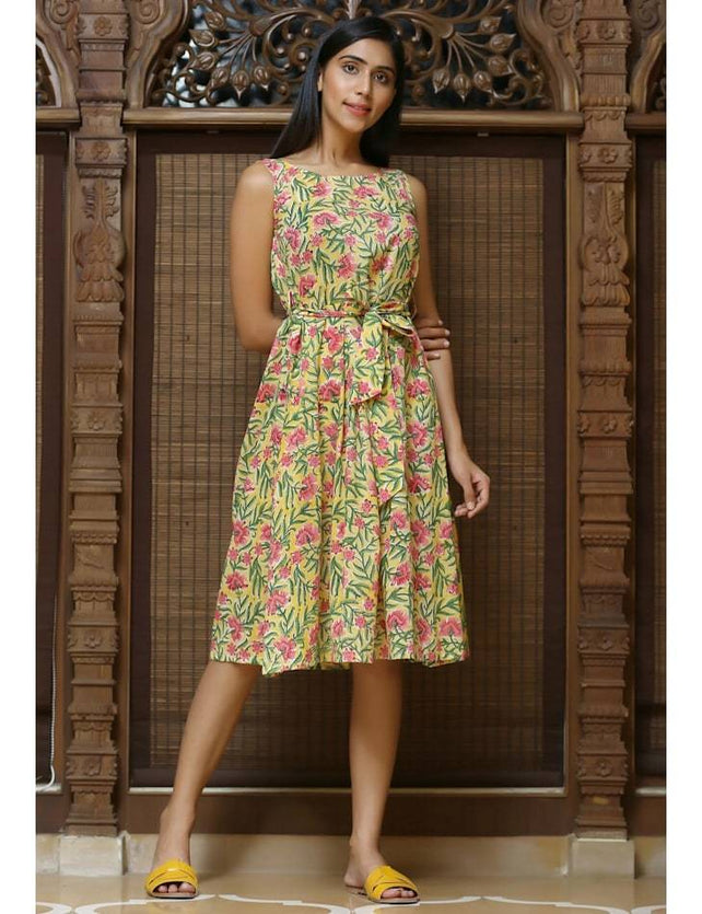 Yellow block printed dress with belt cotton