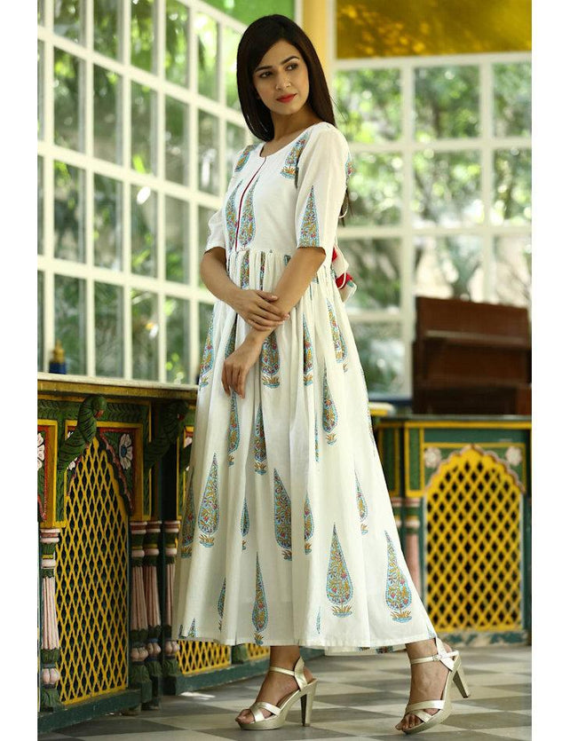 Mughal hand block printed Butta cotton one piece dress