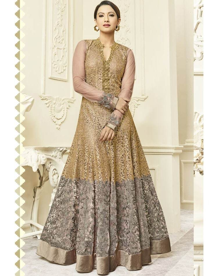 Gold  Silk Embroidered Semi Stitched Gown