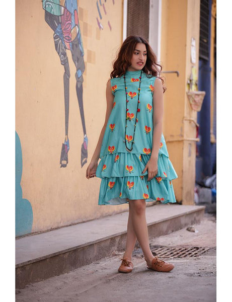 Turquoise Love Birds Printed Tiered Dress