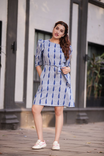 Grey Ikat Belt Dress
