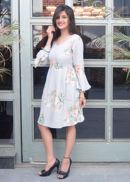 Grey Floral Short Dress with bell sleeves