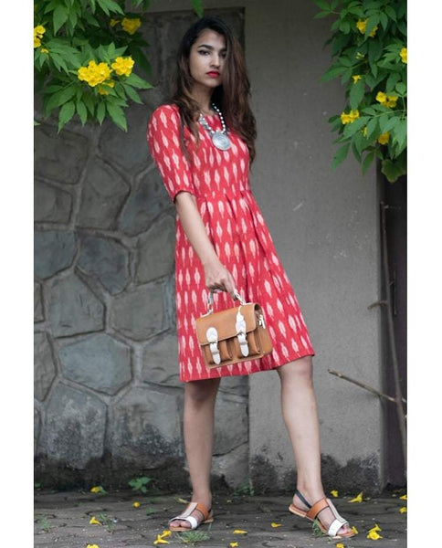 Box Pleat Rust Red Dress