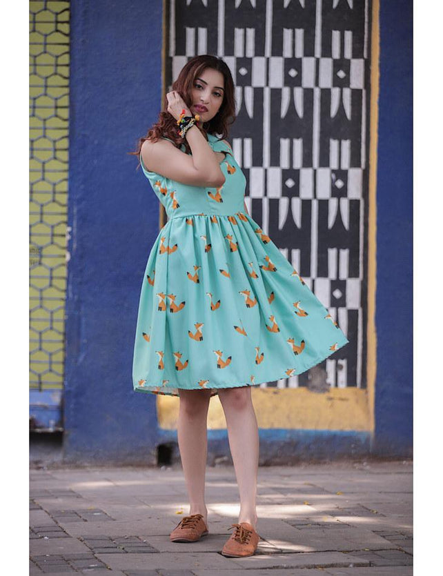 Seagreen Fox Printed Bow Dress