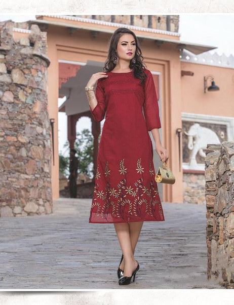 Maroon Embroidery Chanderi Silk A-Line Dress