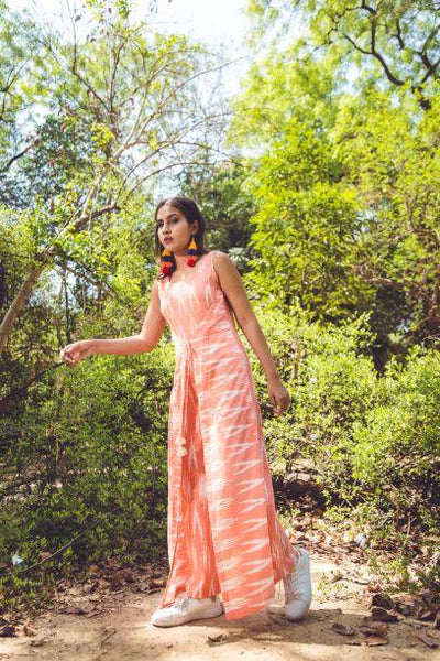 PEACH IKAT JUMPSUIT