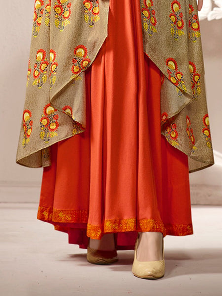 Beige & Multi Color Soft Silk & Rayon printed Gown