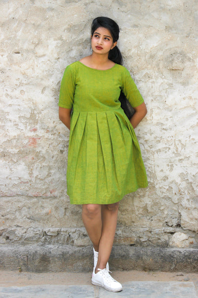 Green khadi cotton midi dress