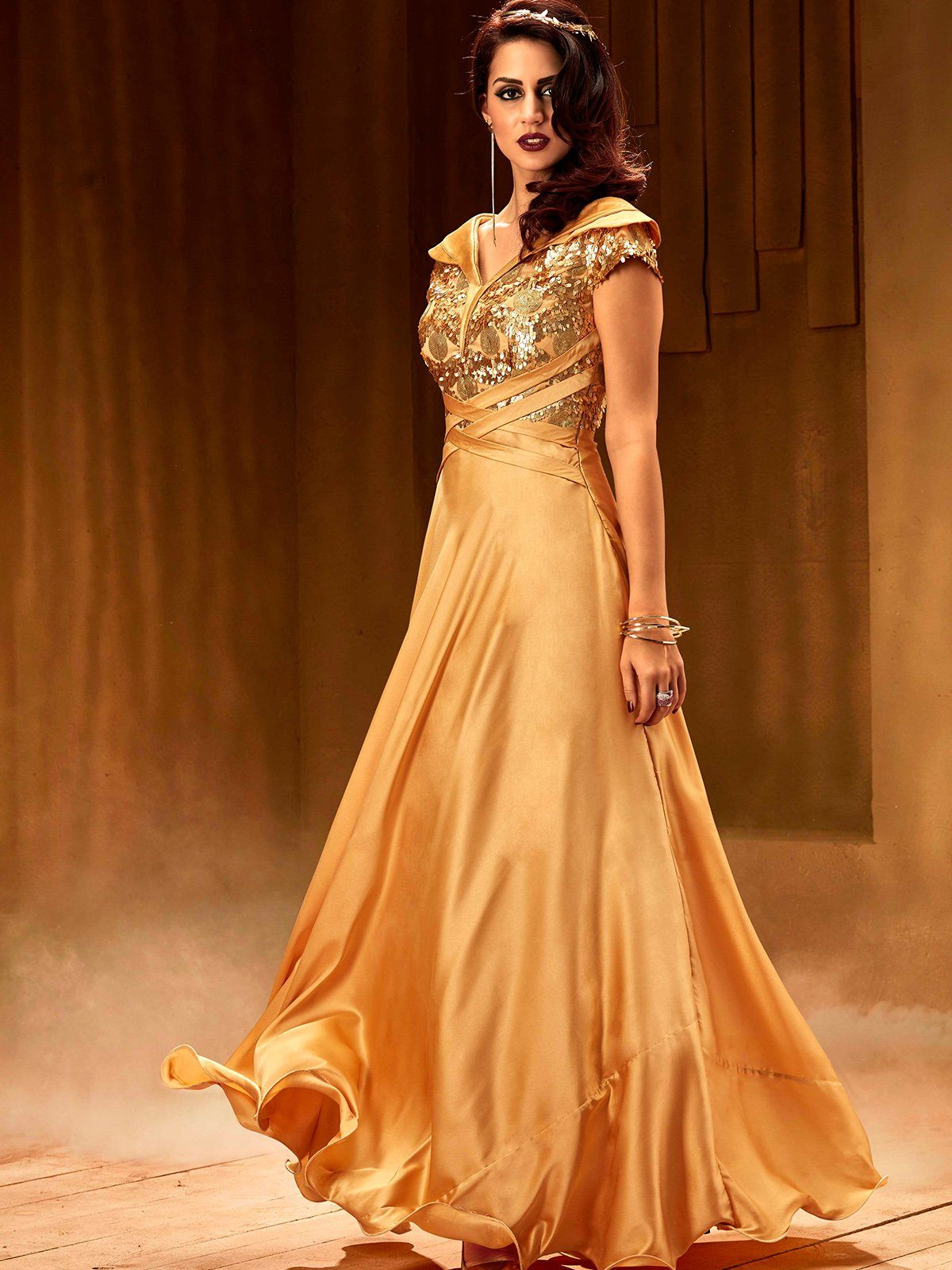 Criss Cross Golden Sea Net Fabric Stitched Embroidered Gown – Sutva